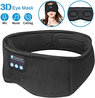 Sleep Headphones Bluetooth Eye Mask,ZesGood 3D Bluetooth 5.0 Wireless Sleep Mask,Washable Adjustable Travel Music Handsfre...