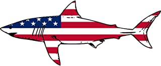 Rogue River Tactical Shark Fish USA Flag Sticker Decal Fishing Bumper Sticker Fish Patriotic United Auto Decal Car Truck Boat RV Real Life Rod Tackle Box
