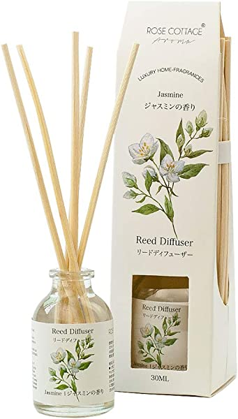 Rose Cottage Jasmine Reed Diffuser Set 30ml Scented Rattan Sticks Oil Diffuser Room Fragrance Aroma For Home And Office