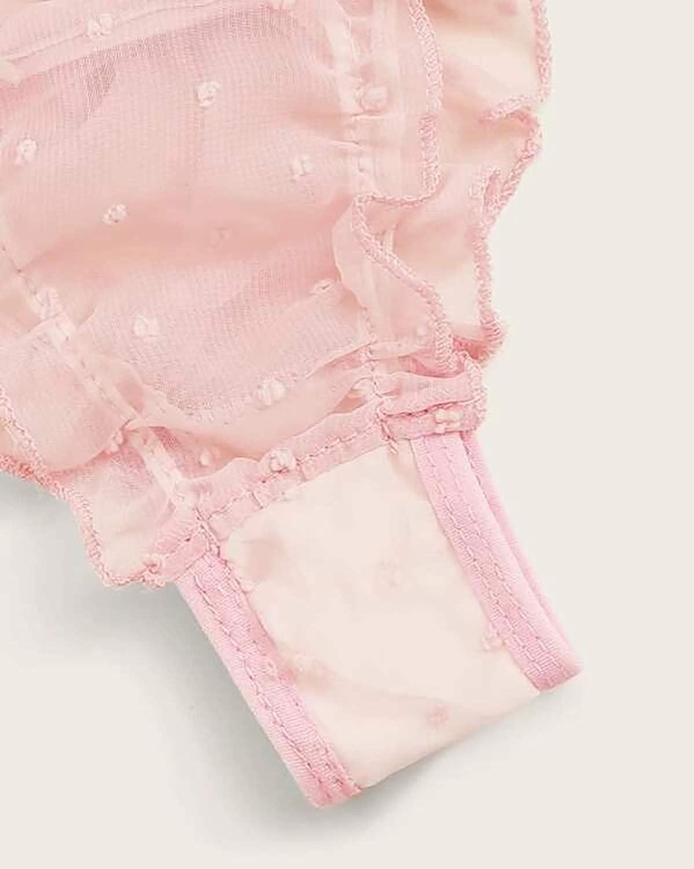 Hilinker Women's Bodysuit Ruffle Trim Tie Front Lace Up Babydoll Mesh Sexy Lingerie Set