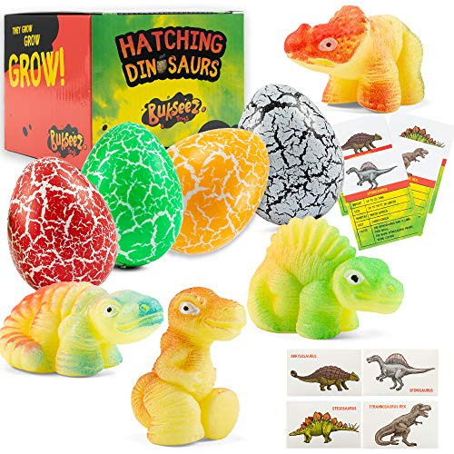 Dinosaur Hatching Eggs in Water Toys - 4 Pack Magic Dino Egg Hatchable Growing in Water for Science Educational Easter Party Play Gifts for Kids Girls Boys 4 Dinosaurs Fun Fact Cards Four Dino Sticks
