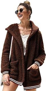 Women's Hooded Coats Fleece Fuzzy Jackets,Winter Casual Sherpa Shearling Loose Warm Jacket Outwear with Pockets