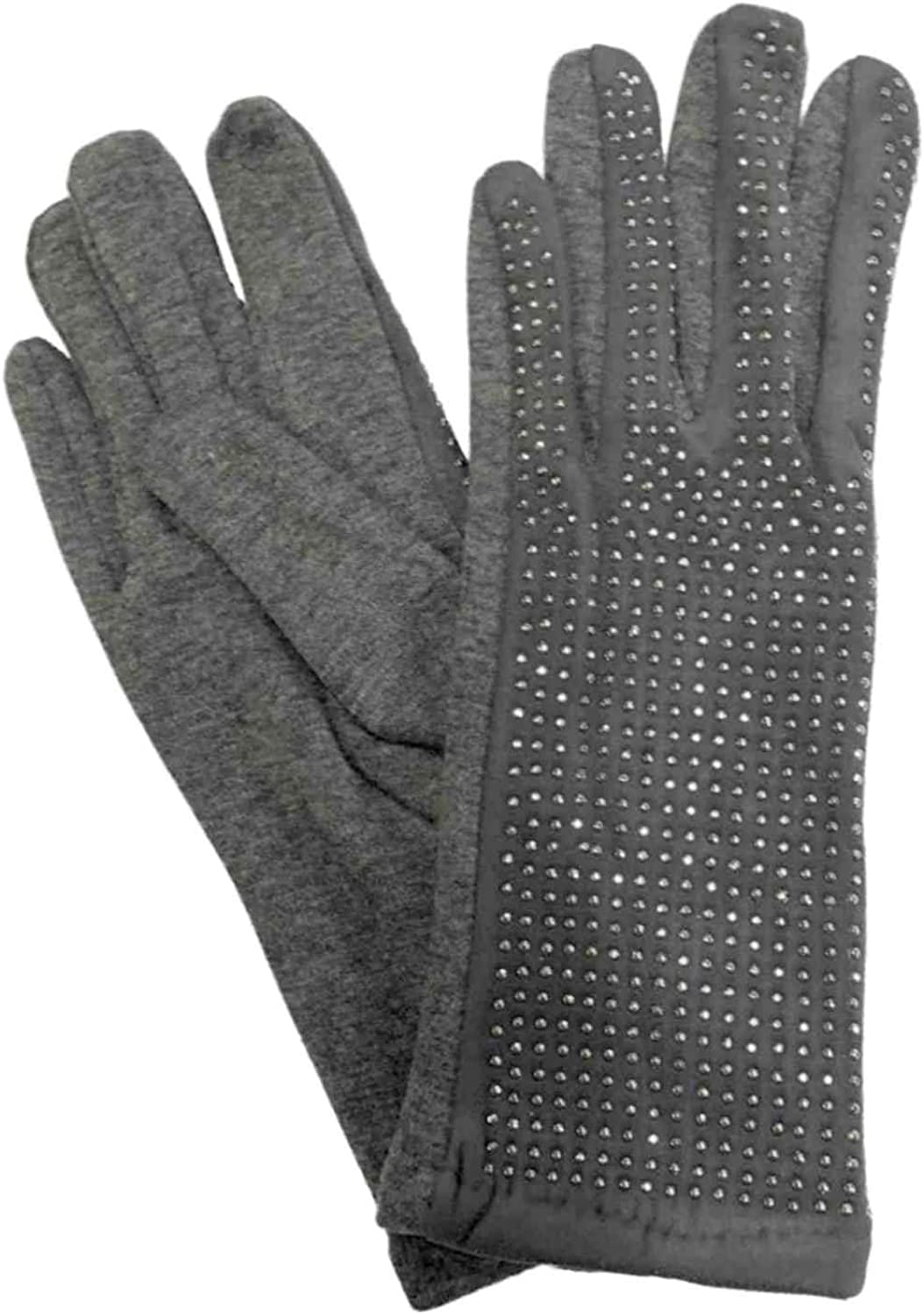 Womens Gray Rhinestone Sparkle Stretch Fit Texting & Tech Touchscreen Gloves