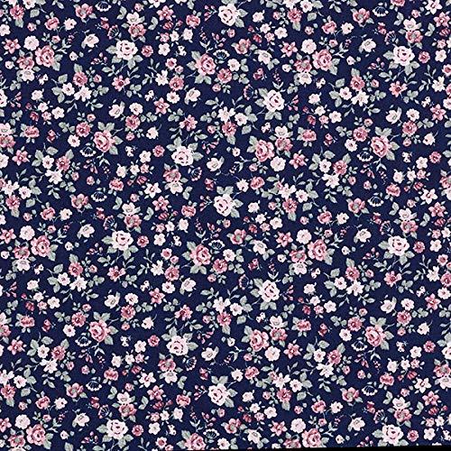 Baumwollstoff Popeline kleine Rosen – navy — Meterware ab 0,5m — STANDARD 100 by OEKO-TEX® Produktklasse I — zum Nähen von Kissen/Tagesdecken, Homeaccessoires & Tischdecken