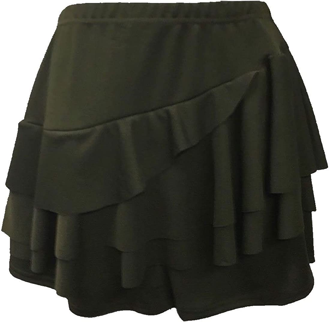 Rimi Hanger Womens Rara Layered Skirt With Attached Hot Pant Ladies Crepe Side Frill Skirt US 4-10