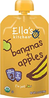 Ella's Kitchen Organic 6+ Months baby Food, Bananas and Apples, 3.5 oz. Pouch (Pack of 12) [Packaging May Vary]