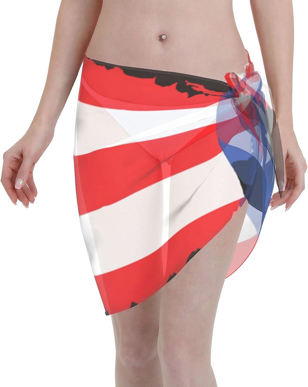 Puerto Rico Flag Women Short Sarongs Beach Wrap, Beach Cover-Ups High Waisted Wrap Skirt with Slit,Sexy Sheer Swimsuit Bikini Wraps Chiffon,Soft Scarf for Swimwear Black