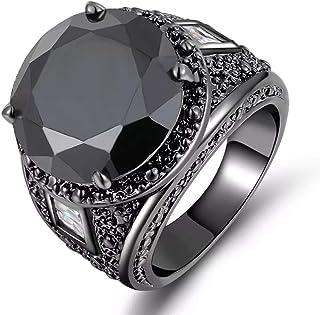 للرجال خاتم مطلي بالروديوم الأسود حجر كريم الياقوت الاسود مقاس US 7