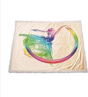 Miles Ralph Abstract Home Decor Cozy Blanket Smoke Dance Shape Silhouette of Dancer Ballerina Rainbow Colors Fantasy Fleece Throw 50