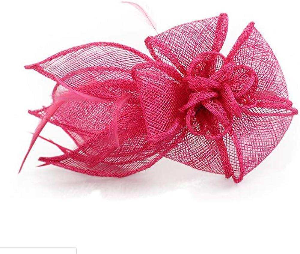 Urchart Women Ladies Church Flower Feather Cambric Fascinator Party Headband Hair Hoop