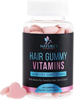 Hair Gummy Vitamins, Sugar Free with Biotin 5000 mcg, Vitamin A, B12, C, D, E, Folic Acid, Supports Hair Growth, Vegetaria...