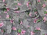 Minerva Crafts Stoff, Viskose, Blumenmuster, Schwarz / Pink