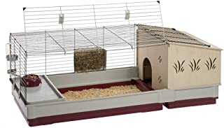 Ferplast Krolik Rabbit Cage | Extra-Large Rabbit Cage w/Wood or Wire Hutch | Rabbit Cage Includes All Accessories