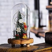 Uonlytech cúpula de vidro decorativa de Natal iluminada, luz noturna de árvore de Natal, luminária de mesa LED para festa ...