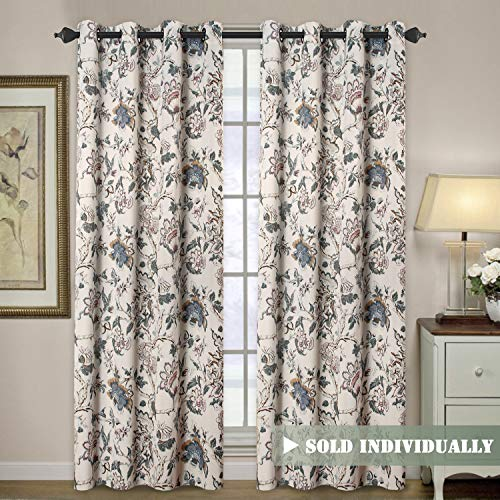 H.VERSAILTEX Blackout Curtains for Living Room Thermal Insulated Curtain Drapes for Bedroom/Dining Vintage Floral Printed Grommet Draperies (1 Panel, 52' W x 84' L, Sage/Beige/Brown/Blue)