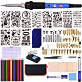 Aibecy 112pcs Kit per bruciare per Legno 60W Set di penne per pirografia Temperatura regolabile 220-480 ℃ Strumento per la combustione del legno per principianti Adulti Goffratura Intaglio Saldatura