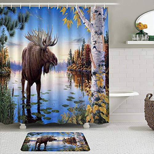 TARTINY Juego de Cortina de Ducha de 2 Piezas con alfombras Antideslizantes,Moose Animal Lonely Moose Comiendo Hierba en el río Brich Árboles Sub-Frig...