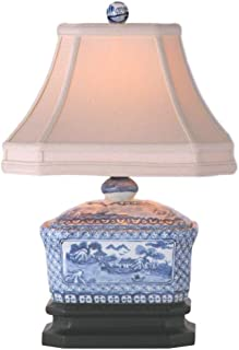 East Enterprises LPDBWS088A Box Table Lamp - Blue and White