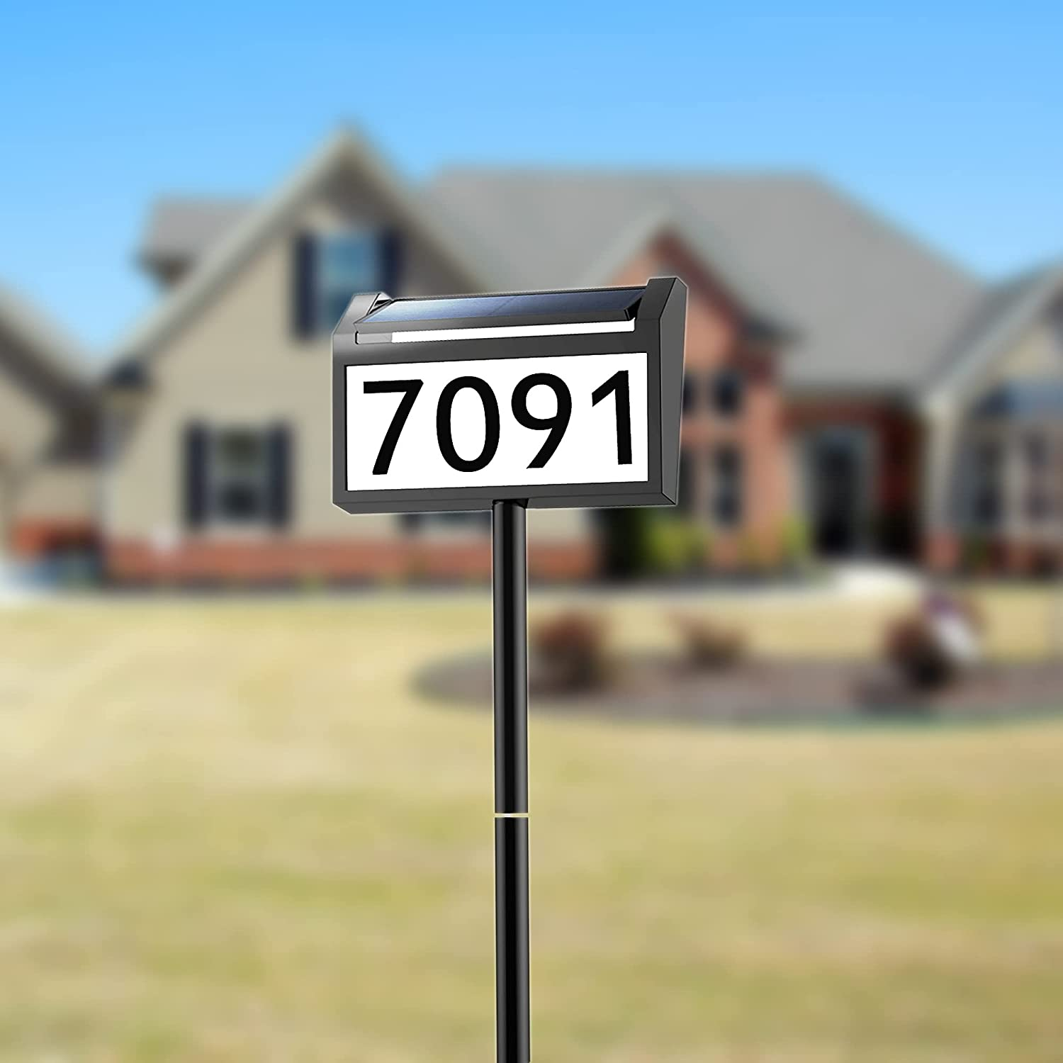 Modern Address Sign Plaques, Veofoo Solar Address Numbers for Houses with LED Lighted Up House Number for Outside Street Yard Driveway Mailbox Garden Sign(Height 32 Inches, 1 Pack)