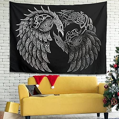 Cuervo Cuervo Nudo Estampado Colgante de pared Tapiz Manta de pared Cortina mística Blanco