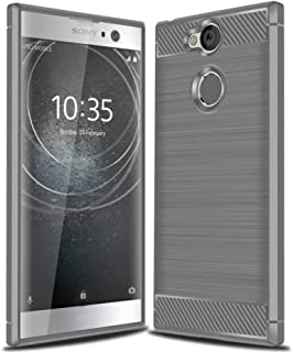 Sony Xperia XA2 Phone Case,Bettop Anti-Fingerprint Shockproof Carbon Fiber Design Flexible Soft TPU Brushed Texture Protective Case for Sony Xperia XA2 5.2 Inch (Grey)