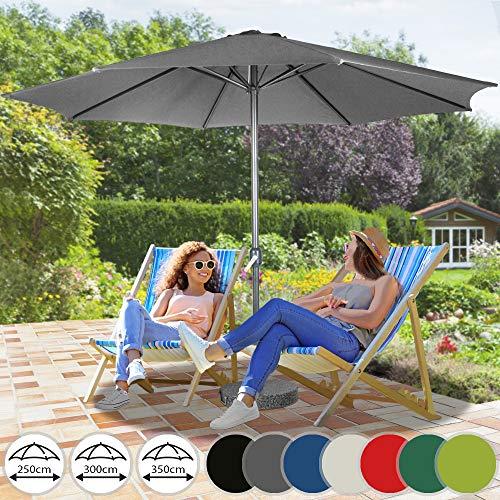 Sonnenschirm in Ø 2,5m / Ø 3m / Ø 3,5m - in Farbwahl aus Stahlrohr und Wasserabweisender Schirmbezug, mit Kurbel - Marktschirm, Gartenschirm, Terrassenschirm, Ampelschirm, Strandschirm, Sonnenschutz (Ø 3 m, Grau)