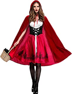 Colorful House Red Little Riding Hood Costume for Women, 3 Pieces