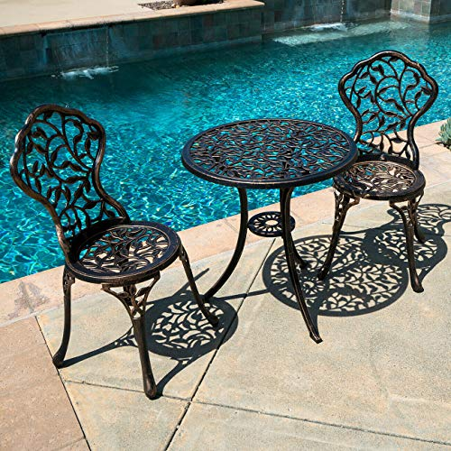 ana1store Traditional Terrace Sunbath Talking Seating 3pcs Bronze Plant Desing Cast Metal Curve Tables Top 2 Chairs Inside Outdoor Field Backyard Garden Kitchen Furniture Patio Dining Bistro Sets
