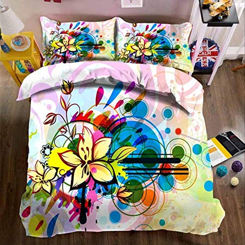 WGLG Double Bed Duvet Sets, 3D Print Abstract Flower Cotton Home Textiles Bed Sheets Duvet Cover Pillowcase 3-Piece Set