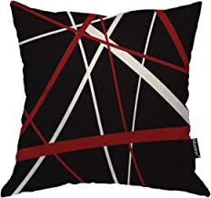 Moslion Stripes Throw Pillow Cover Abstract Geometric Retro Striped Lines Black White and Red Square Pillow Case Cushion Cover for Home Car Decorative 18x18 Inch Cotton Linen