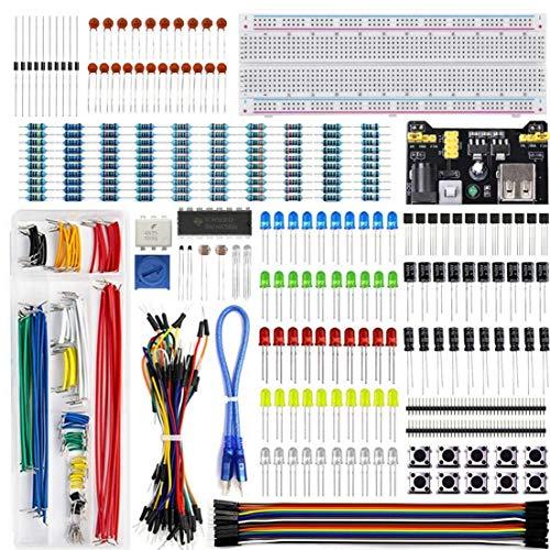 Projekt-Starter-Set, UNO R3 Projekt-Starter-Set, Schaltkreis-Breadborad-Kit, Elektronik-Komponenten-Kit, Super-Starter-Set mit Steckplatine, Präzisions-Elektronik