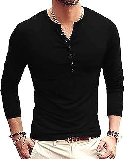 Mens Casual Long Sleeves Shirts Henley Shirt Grandad Neck T-Shirts Tees Button Tops