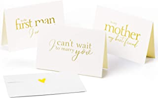 WRAPAHOLIC Gold Hot Stamping to Your Bride, Groom and Parent Card - I Can't Wait to Marry You, to My Mother My Bestfriend, to The First Man I Ever Loved - 6 Pack