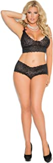 Women's Stretch Lace Booty Shorts and Camisole Set with Bows-Plus Size