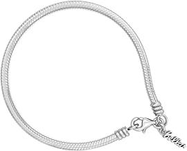 Authentic BELLA FASCINI Snake Chain European Bead Charm Bracelet - Lobster Clasp - Sterling Silver - 9.1