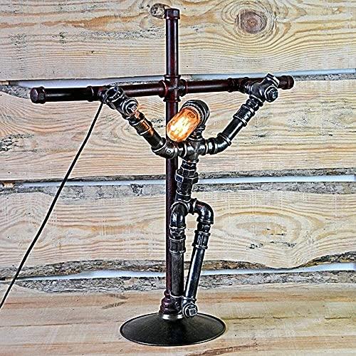 FHUA Lámpara Escritorio Lámpara de Mesa de Tubo de Hierro Retro Europeo lámpara de Tubo de Metal Cruzado lámpara de Viento Industrial 63 * 27 * 67 cm
