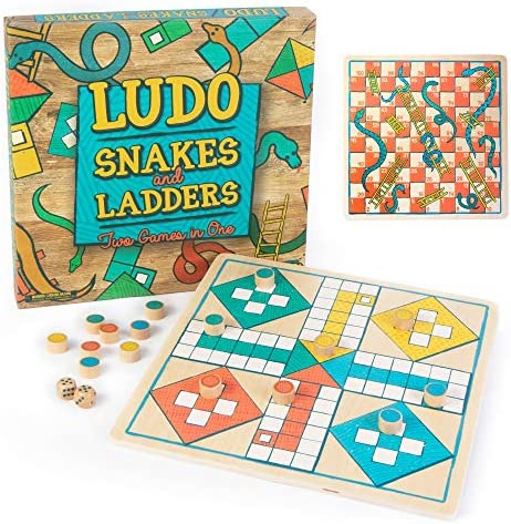 Ludo Snakes Ladders Wooden Board Game 2 Pack Two Game Set in One Bundle Children s Family Pachisi product image