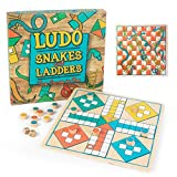 Ludo + Snakes & Ladders Wooden Board Game 2-Pack - Two Game Set in One Bundle - Children's Family Pachisi Learning Dice Games for Adults & Kids - Classic 12' x 12' Two-Sided Board for 2-4 Players