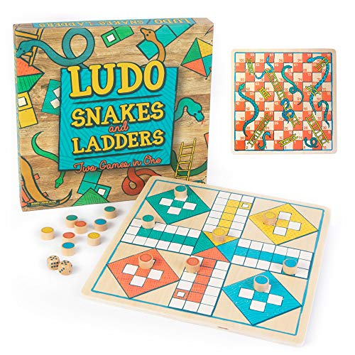 Ludo + Snakes & Ladders Wooden Board Game 2-Pack - Two Game Set in One Bundle - Children