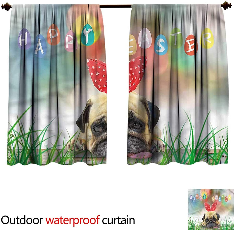 BlountDecor Sun Block Outdoor curtainAntiWater W55 x L72(140cm x 196cm) Easter,Pug Dog Wearing Bunny Ears