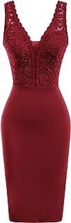 GRACE KARIN Women Sleeveless Deep V Neck Cocktail Pencil Dress