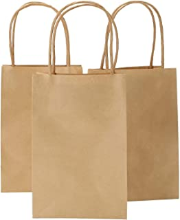 Road 5.25 x 3.75 x 8 Inches Brown Small Kraft Paper Bags with Handles, Shopping, Grocery, Mechandise, Party Bags (100)