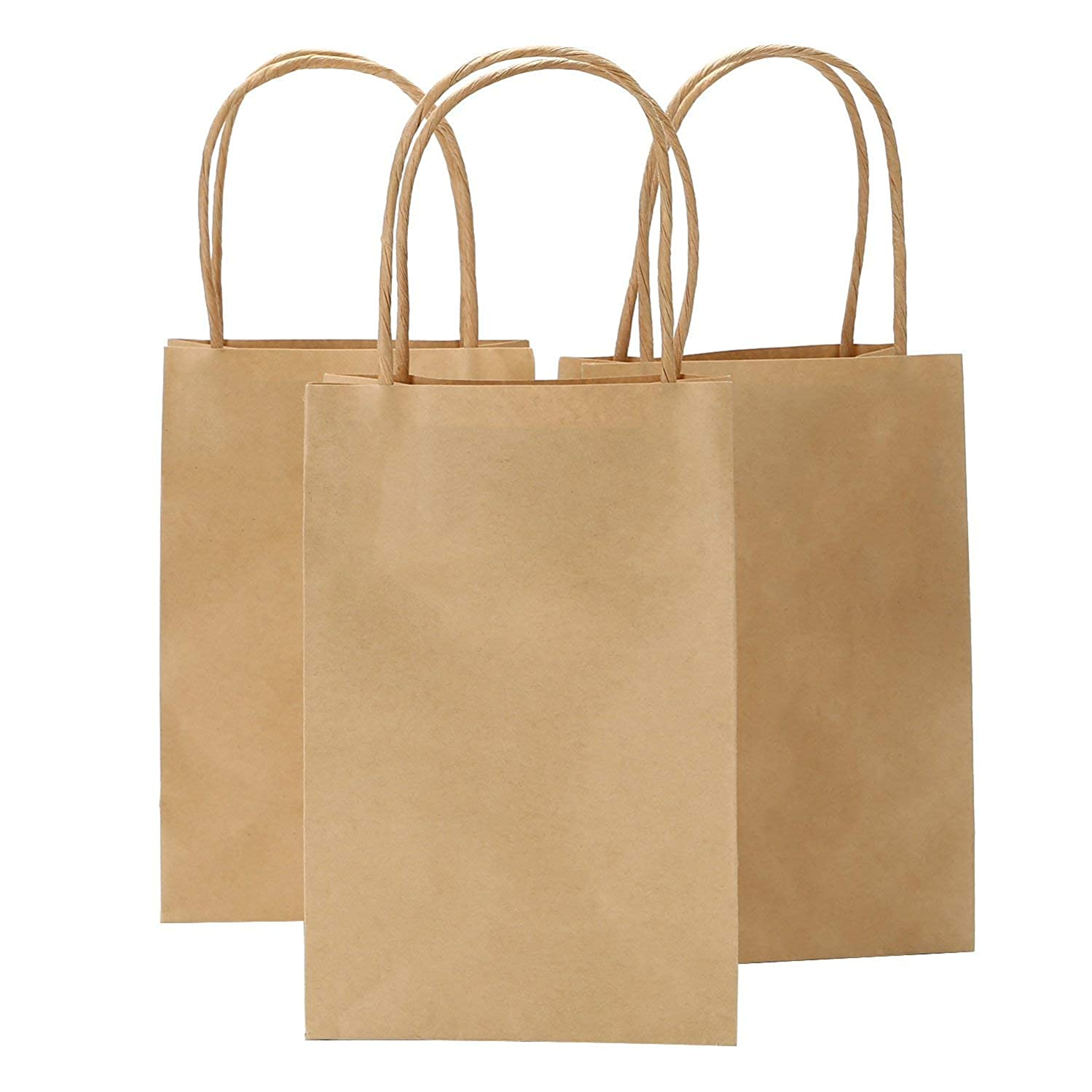 Road 5.25 x 3.75 x 8 Inches Brown Small Kraft Paper Bags with Handles, Shopping, Grocery, Mechandise, Party Bags (200)