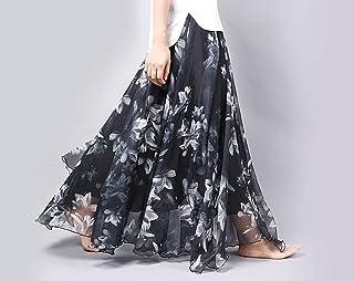 ZJMIYJ Kjolar för kvinnor – bohemiska blommor tryck chiffong lång kjol damer smal hög midja elastisk midja veckade kjolar ...