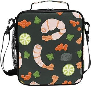 Sac à déjeuner isotherme carré, portable et de grande capacité, motif crevettes et fruits de mer, pour voyage, pique-nique...