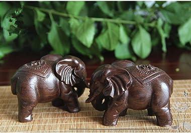HOMYL Wood Asian Elephant Ornament Gift Figurine Table Decor Desk Decor Decoration - Boxed Gift - Good Luck