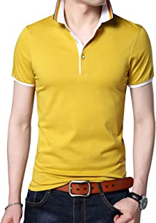 Mens Casual Short Sleeve Tops Button Collared Polo T Shirt