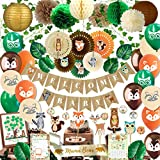 Woodland Baby Shower Decorations for Boy or Girl | Gender Neutral Forest Decor | Banner, Leaf Vines, Paper Fans, Woodland Animals Cutouts, Games, Baby Shower Guest Book, Sash, Games and much more