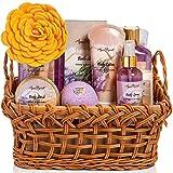Spa Baskets For Women - Luxury Bath Set With Honey & Lavender - Spa Kit Includes Wash, Bubble Bath, Lotion, Bath Salts, Body Scrub, Body Spray, Shower Puff, Bathbombs, Soap and Towel, Large
