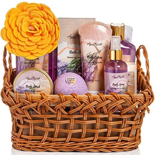 Spa Baskets For Women - Luxury Bath Set With Honey & Lavender - Spa Kit Includes Wash, Bubble Bath, Lotion, Bath Salts, Body Scrub, Body Spray, Shower Puff, Bathbombs, Soap and Towel